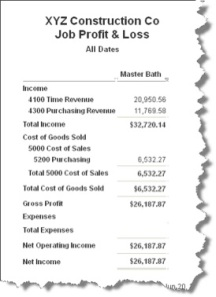 Sample job costing report
