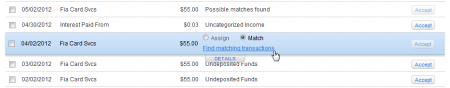 Find Match in Downloaded Transactions